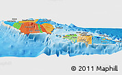 Political Panoramic Map of Samoa, shaded relief outside, bathymetry sea
