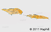 Political Shades Panoramic Map of Samoa, cropped outside
