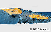 Political Shades Panoramic Map of Samoa, darken