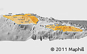 Political Shades Panoramic Map of Samoa, desaturated