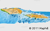 Political Shades Panoramic Map of Samoa, physical outside