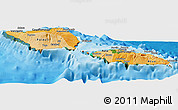 Political Shades Panoramic Map of Samoa, satellite outside, bathymetry sea