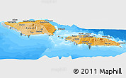 Political Shades Panoramic Map of Samoa, semi-desaturated, land only