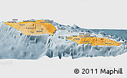 Political Shades Panoramic Map of Samoa, semi-desaturated