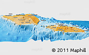 Political Shades Panoramic Map of Samoa, shaded relief outside, bathymetry sea