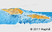 Political Shades Panoramic Map of Samoa, single color outside