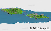 Satellite Panoramic Map of Samoa, semi-desaturated, land only