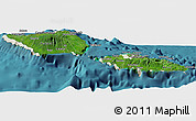 Satellite Panoramic Map of Samoa, shaded relief outside, satellite sea