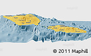 Savanna Style Panoramic Map of Samoa, single color outside