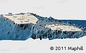 Shaded Relief Panoramic Map of Samoa, darken