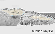 Shaded Relief Panoramic Map of Samoa, desaturated