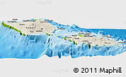 Shaded Relief Panoramic Map of Samoa, physical outside