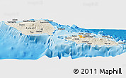Shaded Relief Panoramic Map of Samoa, political outside, shaded relief sea