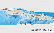 Shaded Relief Panoramic Map of Samoa, political shades outside, shaded relief sea