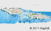 Shaded Relief Panoramic Map of Samoa, satellite outside, shaded relief sea