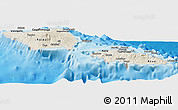 Shaded Relief Panoramic Map of Samoa, semi-desaturated, land only