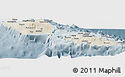 Shaded Relief Panoramic Map of Samoa, semi-desaturated