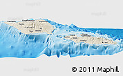 Shaded Relief Panoramic Map of Samoa, single color outside