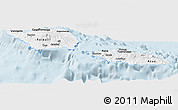 Silver Style Panoramic Map of Samoa, single color outside