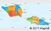 Political Simple Map of Samoa, political shades outside