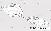 Silver Style Simple Map of Samoa, cropped outside