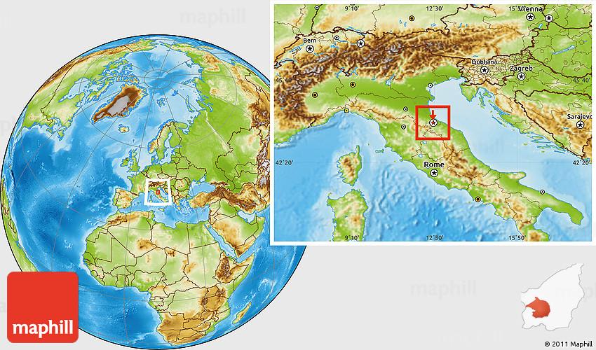 Physical Location Map of San Marino