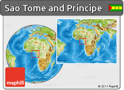 Physical Location Map of Sao Tome and Principe, within the entire continent