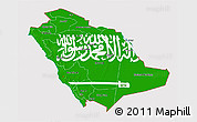 Flag 3D Map of Saudi Arabia, flag centered