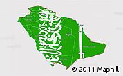 Flag 3D Map of Saudi Arabia, flag aligned to the middle
