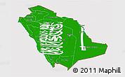 Flag 3D Map of Saudi Arabia, flag rotated