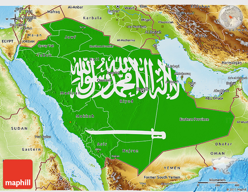 Flag 3D Map of Saudi Arabia physical outside
