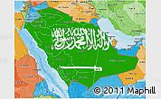 Flag 3D Map of Saudi Arabia, political shades outside