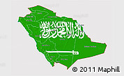 Flag 3D Map of Saudi Arabia