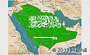 Flag 3D Map of Saudi Arabia, satellite outside