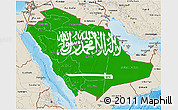 Flag 3D Map of Saudi Arabia, shaded relief outside