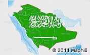 Flag 3D Map of Saudi Arabia, single color outside, shaded relief sea