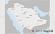 Gray 3D Map of Saudi Arabia, single color outside