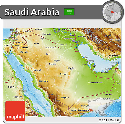 Version of physical 3d map of saudi arabia into your website or blog