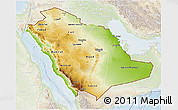 Physical 3D Map of Saudi Arabia, lighten