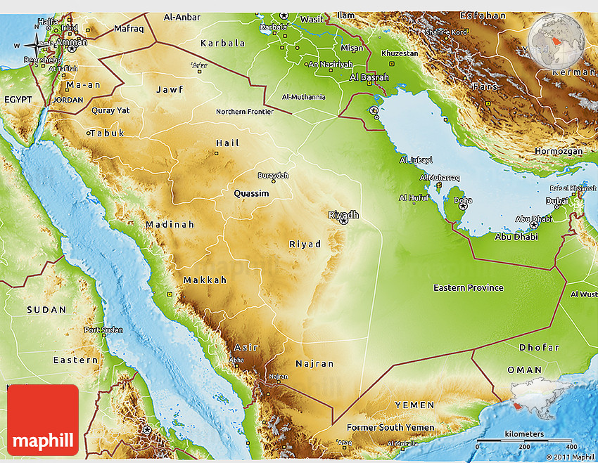 Physical 3D Map of Saudi Arabia