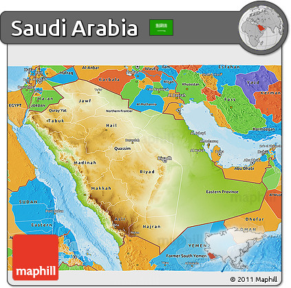 Physical 3D Map of Saudi Arabia, political outside