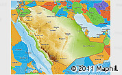 Physical 3D Map of Saudi Arabia, political outside, shaded relief sea