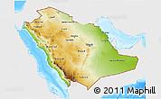 Physical 3D Map of Saudi Arabia, single color outside, bathymetry sea