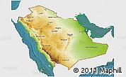 Physical 3D Map of Saudi Arabia, single color outside, satellite sea