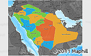 Political 3D Map of Saudi Arabia, darken, desaturated, land only