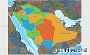 Political 3D Map of Saudi Arabia, darken, semi-desaturated, land only