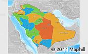 Political 3D Map of Saudi Arabia, lighten, desaturated, land only