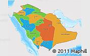 Political 3D Map of Saudi Arabia, single color outside, bathymetry sea