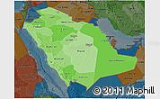 Political Shades 3D Map of Saudi Arabia, darken