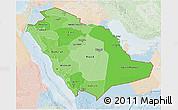 Political Shades 3D Map of Saudi Arabia, lighten